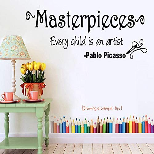 Pablo Picasso Quote Every Child Is an Artist and Masterpieces Vinyl Wall Decal Words Quote Designs