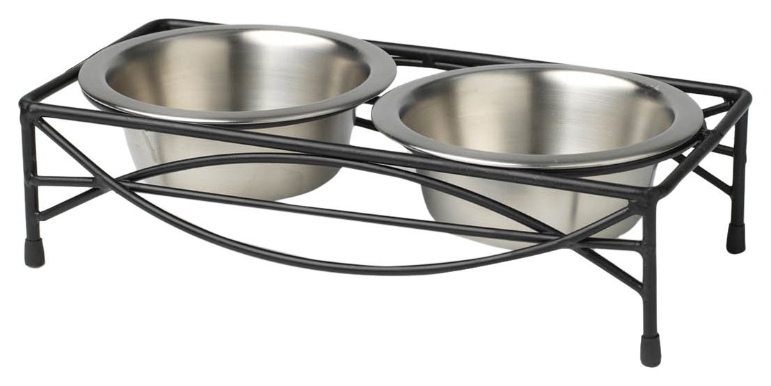 PetRageous 1 Cup Jamaica Pet Diner Black Powder Coated with Brushed Stainless Steel Bowls