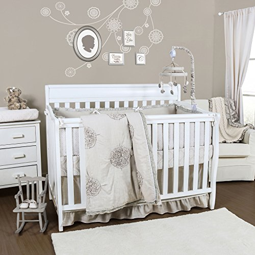 Charlotte 3 Piece Baby Crib Bedding Set by The Peanut Shell (Baby Crib Bedding Sets Beige)
