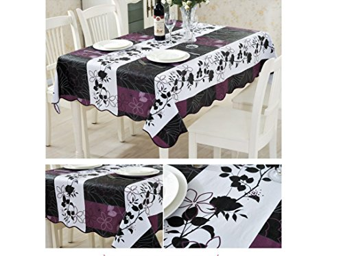 EffortLife Flannel Backed Vinyl Tablecloth WaterProof/Oil-proof PVC Table Cover Square 60 x 60 Inch Square Purple Vinyl