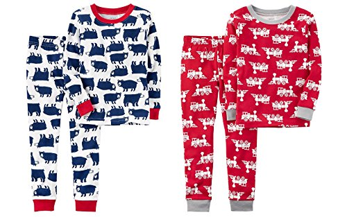 (Carters Toddler and Little Boys 4 Piece Snug Fit Long Sleeve Cotton Pajamas (8, Blue Polar Bears and Red Fire Engines))