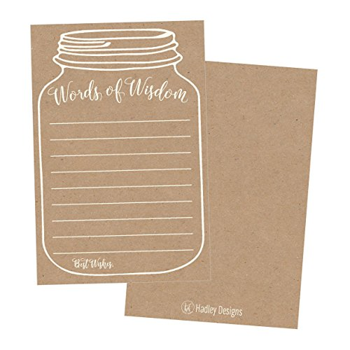 50 Rustic Mason Jar Words of Wisdom Advice Cards, Use As Graduation Advice Cards, Marriage or Wedding Advice Cards, Bridal or Baby Shower Party Games, Boy or Girl Baby Prediction or Advice Cards
