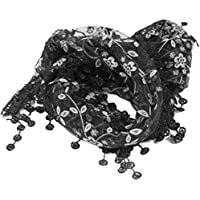 Lady Womens Floral Print Lace Sheer Tassel Mantilla Scarf Shawl Wrap Vogue