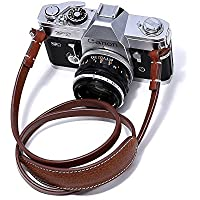 Canpis Leather Camera Strap with Shoulder Pad, Lengthened Shoulder Neck Strap Fits for Canon, Nikon, Sony, Pentax, Fujifilm, Samsung (Brown)