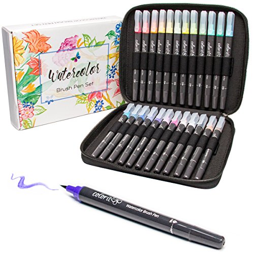 ColorIt Refillable Watercolor Brush Pens Set - 24 Vibrant Colors with Flexible Real Brush Tips and Bonus Travel Case, Premium Artist Quality Pens for Coloring, Painting, Calligraphy & More