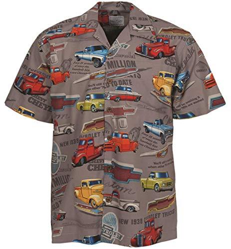 David Carey Chevy Classic Pickup Trucks Camp Hawaiian Shirt (M) Gray