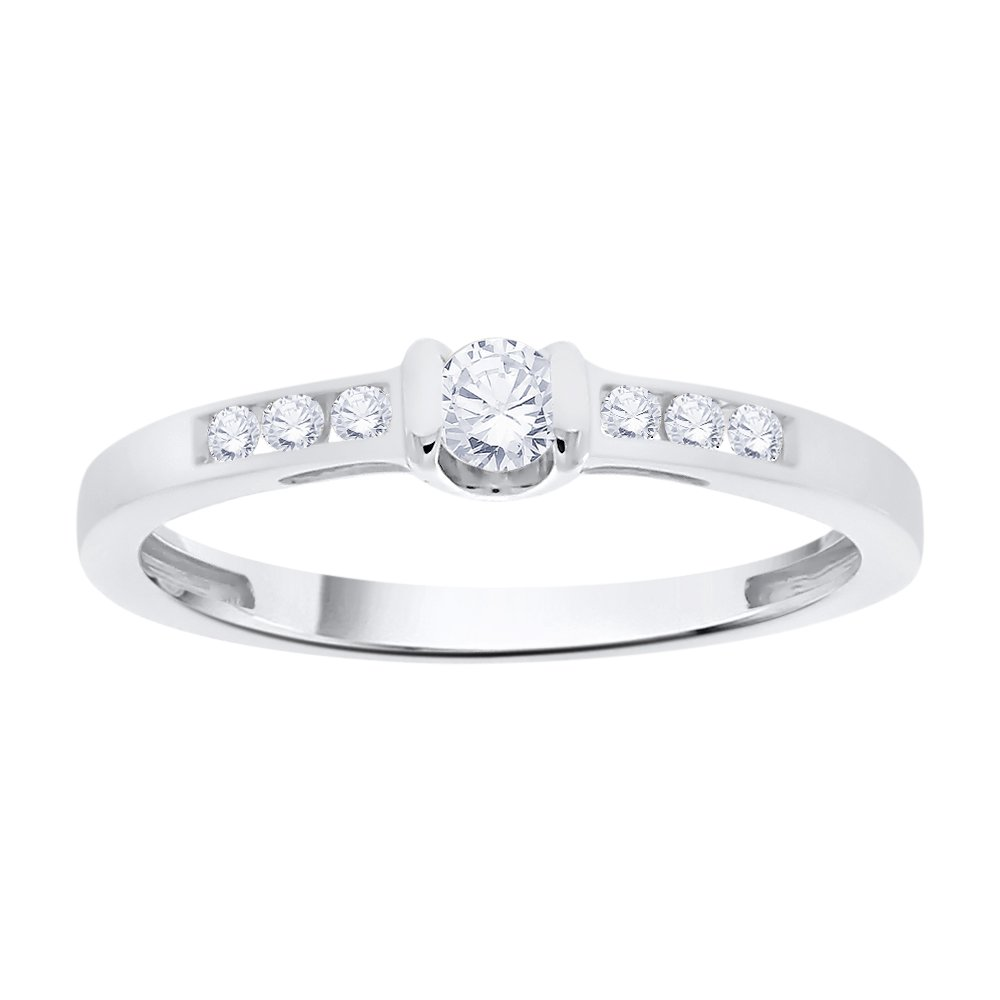 Diamond Promise Ring in Sterling Silver (1/5 cttw) (I-Color, SI3-I1 Clarity) (Size-10.25)