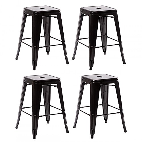 Metal Frame Tolix Style Bar Stool Industrial Chair Set (Set Bar Chair)