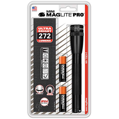 Maglite Mini PRO LED 2-Cell AA Flashlight with Holster Black -