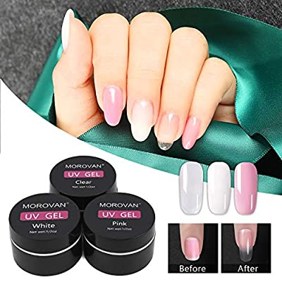 3 Colors UV Builder Gel Set Matte Top Coat Base Coat Set Gel Nail Polish Sparkle and Long Lasting Nail Extension Gel Nail Strengthen UV Gel Nail Art Manicure Set