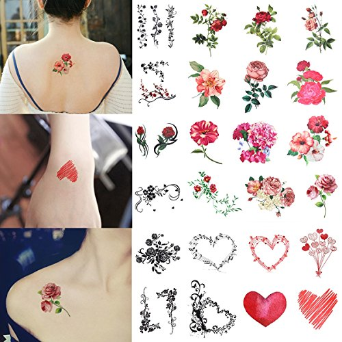 Flower Temporary Tattoos Stickers for Kids Bachelorette Girl Women 2 Sheet 24 Tattoos Flower Heart and Butterfly Unique Design Easy to Apply and Long (Heart & Butterfly Tattoos)