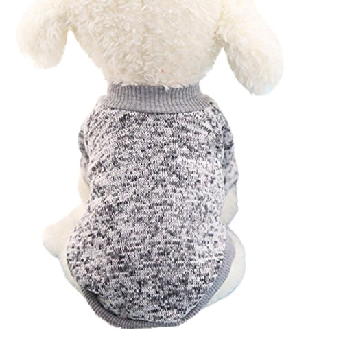 Mikey Store Pet Dog Clothes Soft Thickening Warm Stripe Polar Fleece Winter Clothes (Gray, XL)
