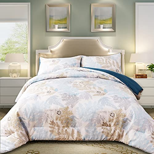 FANOYOL Comforter Set King Size, Elegant Vintage Botanical Floral and Leaves Pattern - 400 GSM 100% Microfiber Comforter Machine Washable for All Season - 3 Piece with 2 Pillowcases