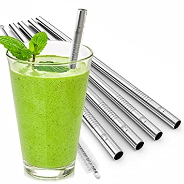 Eco at Heart Reusable Straws - Set of 5 EXTRA WIDE Stainless Steel Drinking Straws 8.5in Length for SMOOTHIES & Thick Drinks. Straight Straw Cleaning Brush Included