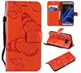 Amocase Wallet Leather Case with 2 in 1 Stylus for Samsung Galaxy S7,Premium Strap 3D Butterfly Magnetic PU Leather Stand Shockproof Card Slot Case for Samsung Galaxy S7 - Orange