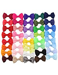 """QtGirl 41 Pieces 2.5"""" Mini Bowknot Grosgrain Hair Bows with Covered Clips"""