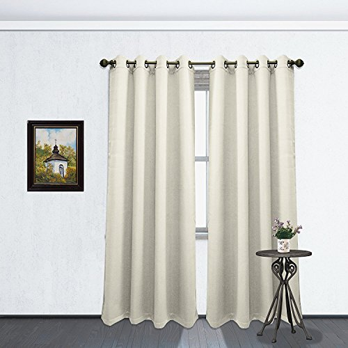 Kashi Home Solid Color Grommet Blackout Room Curtain Panel, Soft Thermal Insulated Room Darkening Window Drape, 54 x 84 Inch, Tessa Single Panel (Beige)