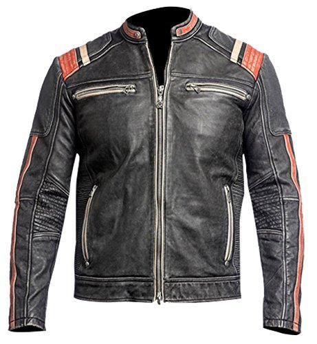8a61a51b2 Spazeup Cafe Racer Jacket Vintage Motorcycle Retro Moto Distressed Leather  Jacket