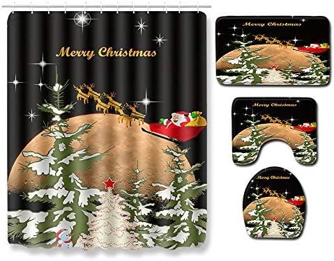 4PCSシャワーカーテンバスルームセット輪郭パッドクリスマスバスルームカーペットセットバスルームマットトイレカバー、ホームデコレーションギフト,C