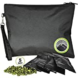 Smell Proof Bag - Odor Proof Bag - Dog Tested Bags 11x9 - E-book - Best Odor Proof Pouch Zipper on top Smell Proof Case for Herbs Coffee Tea Oils 5 Sealed Baggies - Smell Proof Container