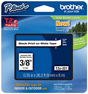 "Brother P-touch ~3/8"" (0.35"") Black on White Standard Laminated Tape - 26.2 ft. (8m)"