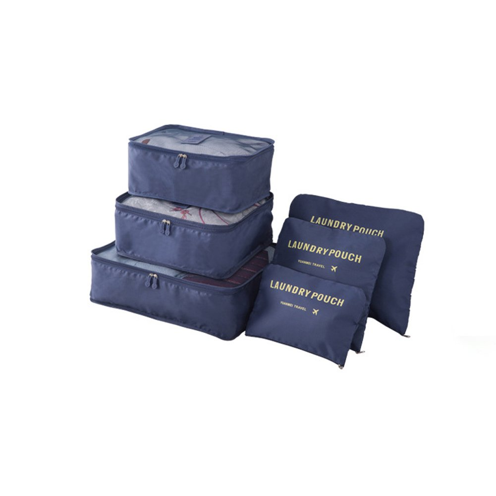 6 pcs Luggage Packing Organizers Packing Cubes Set for Travel Vinmax Storage Bags with Laundry Bag Packing Pouches (Navy Blue)