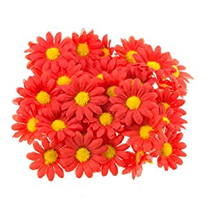 "Funbase 50Pcs 1.5"" DIY Daisy Small Artificial Wedding Head Silk Flower(NO Stems) 5"