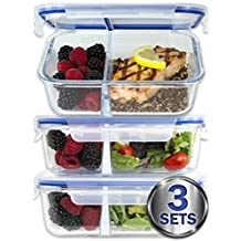 [Large Premium 3 Pack] 2 Compartment Glass Meal Prep Containers w/ New Divider Seal Tech and Snap Locking Lids Airtight 8 Pcs Glass Tupperware Set BPA-Free (5 Cups, 39 Oz)