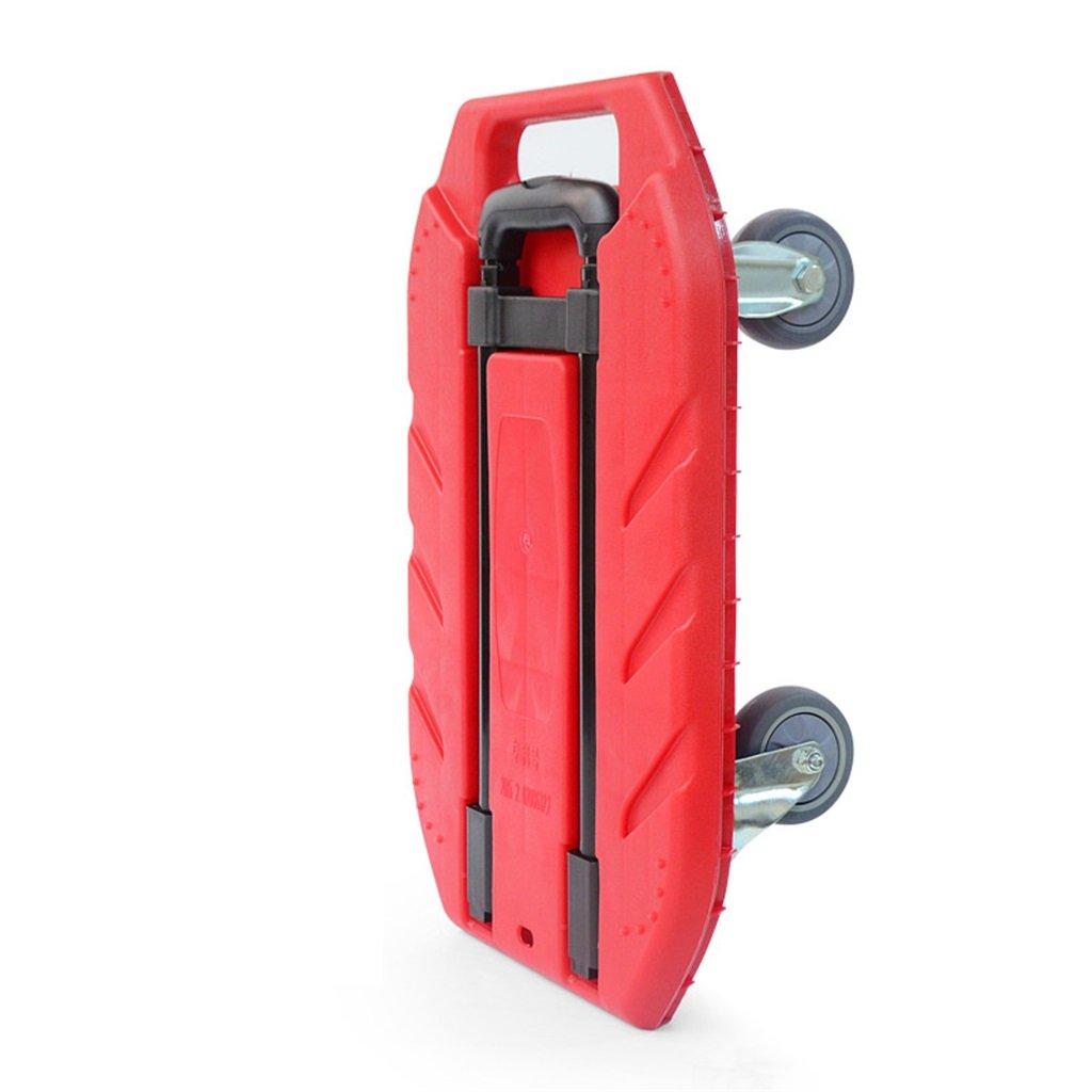 ショッピングカート フラットベッドカート家庭用ハンドトロリーロード王トロリー荷物カートポータブルトレーラーフォードトラックハンドトラック (色 : Red) B07FKX19PG Red Red
