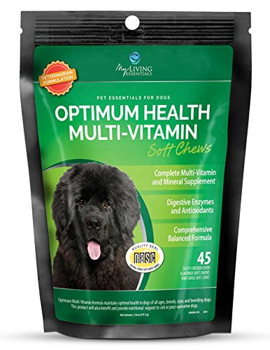 Multivitamin and Mineral Supplement for Dogs - Digestive Enzymes and Antioxidants - 45 Chicken Liver Chews