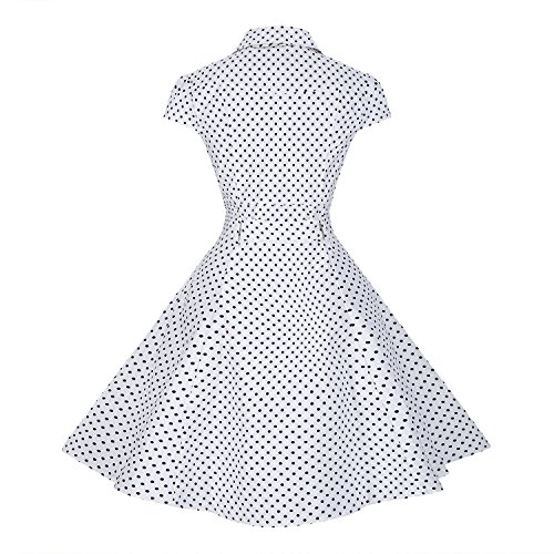 Swing Retro Party Vintage 1950s TENCON White Sleeve Dress Style BI Women's Cap 8qw4UxH