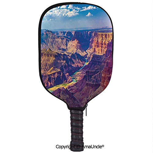 SCOXIXI Neoprene Sports Pickleball Paddle Cover Sleeve,Personalized Aerial View of Epic Grand Canyon Activity of River Stream Over Rock Plateau PrintRacquet Cover,Lightweight,Durable and Portable