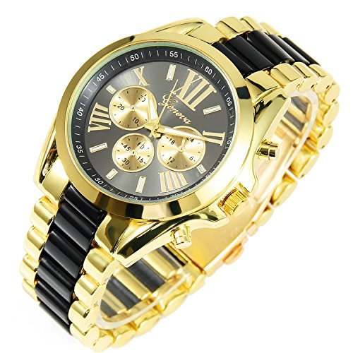 New Mens Gold Black Luxury Men Classic Stainless Steel Gold Dial Quartz Analog Bangle Wrist Watch