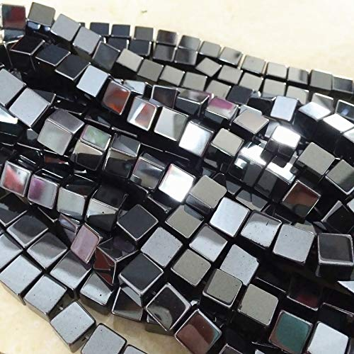 Calvas Fashion Natural Black Hematite Stone Iron ore 6mm Square Cube Loose Beads Jewelry Making Elegant findings spacers 15 inch ()