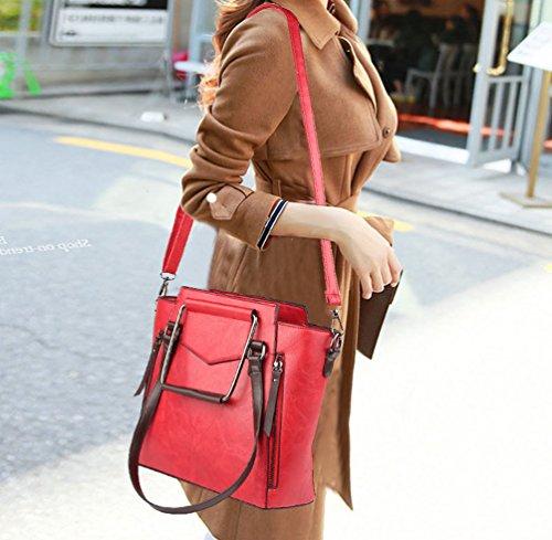 Spalla Grande Rosso Dell'unità Shopper Di Elaborazione In Donne Capienza Pelle Zkoo Borse Bag Tote S4qzwz