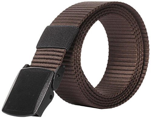 Designer Style Belt Buckle (IF FEEL Men's Military Style Tactical Nylon Web Belt With Plastic Buckle (One Size,)