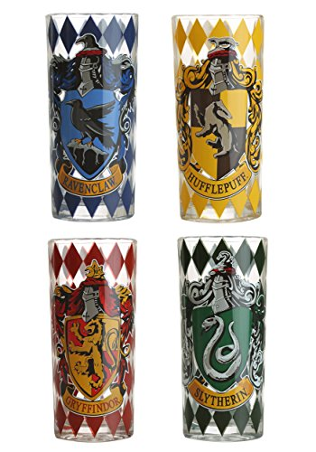 Harry Potter Triwizard Cup - Silver Buffalo HP031T1 Harry Potter Movie 1-8 House Crests Tumbler Set, 4-Pack
