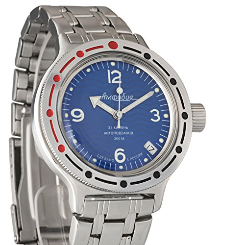 Vostok Amphibia Blue Russian Army Divers Watch WR200m Mechanical Automatic AUTO #420346 (Watch Blue Vostok)