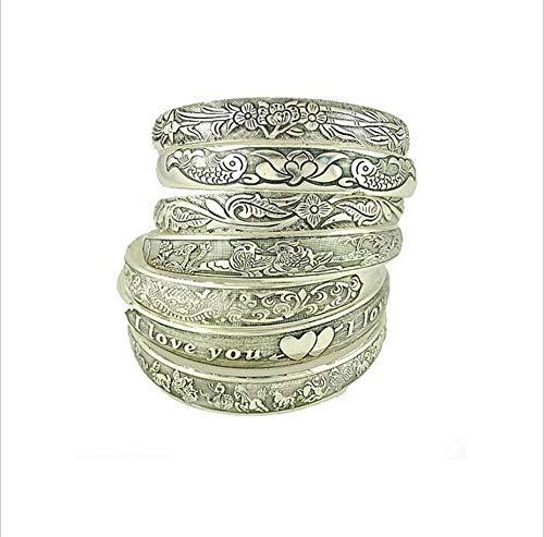 manloufushi Mix 4pcs Factory Wholesale Tibetan Jewelry Vintage Silver Bangles Antique Tibetan Silver Cuff Bracelets