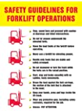 "Accuform Signs PST759 Safety Awareness Poster, ""SAFETY GUIDELINES FOR FORKLIFT OPERATIONS"", 24"" Length x 18"" Width, Laminated Flexible Plastic"