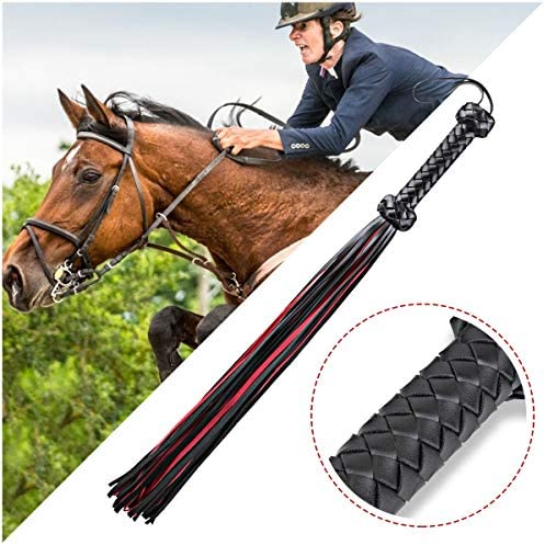 Lukovee Equestrian Horse Spread Whips Horse Riding Bullwhip Costume Accessories with PU Leather Handle Training Tool for Horse Play Harness Handle Whip Party Cosplay