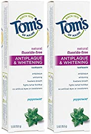 Tom's of Maine Fluoride-Free Antiplaque & Whitening Toothpaste, Whitening Toothpaste, Natural Toothpas