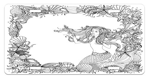 (Ambesonne Mermaid License Plate, Mermaid in Artsy Seashells Starfish Coral Reef Frame Ancient Culture Myth Artwork, High Gloss Aluminum Novelty Plate, 5.88 L X 11.88 W Inches, Grey White)