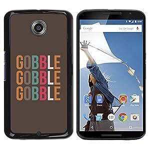Gobble texto Alimentos minimalista de Brown - Metal de aluminio y de plástico duro Caja del teléfono - Negro - NEXUS 6 / X / Moto X Pro
