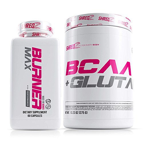 SHREDZ Performance Supplement Stack for Women, Includes Thermogenic Fat Burner MAX and BCAA, Diet Pills for Weight Loss, Clean Energy, Clinically Tested Ingredients, Superior Results (1 Month Supply) by SHREDZ