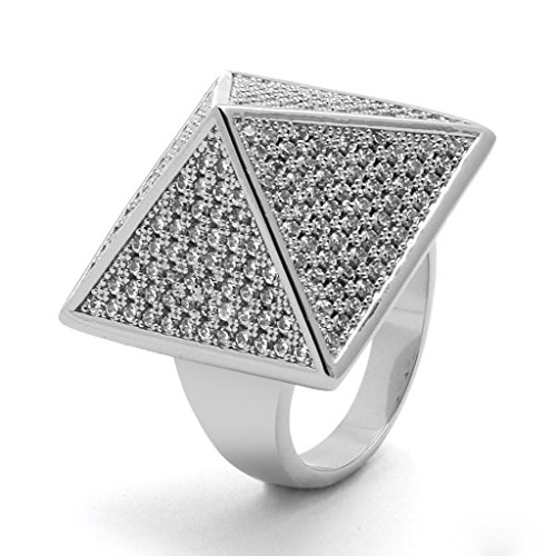 TVS-JEWELS White Platinum Plated 925 Silver Round Cut White Cubic Zirconia Hip Hop Pyramid Ring (9) by TVS-JEWELS