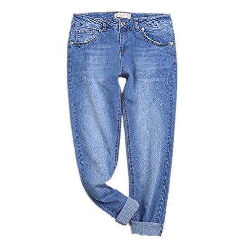 Wgwioo Pantalones Slim Pocket Premium Classic Comfort Light Destruido Denim Azul Relajado Fit Jeans De Pierna Recta Mujer