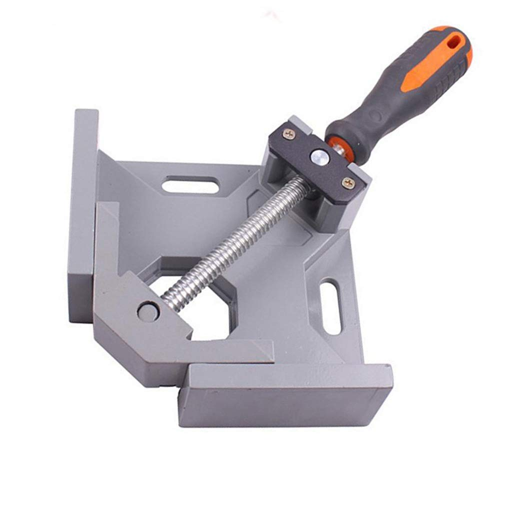 Aluminum Alloy Right Angle Clamp, Single Handle 90° Corner Clamp, Clip Clamp Tool Woodworking Photo Frame Vise Welding Clamp Holder with Adjustable Bench Vise Tool (Silver Gray)