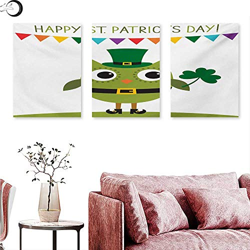 Mannwarehouse St. Patricks Day Poster Prints Owl with Leprechaun Costume Greeting Design for Party Shamrock Pattern Triptych Wall Art Multicolor W 24