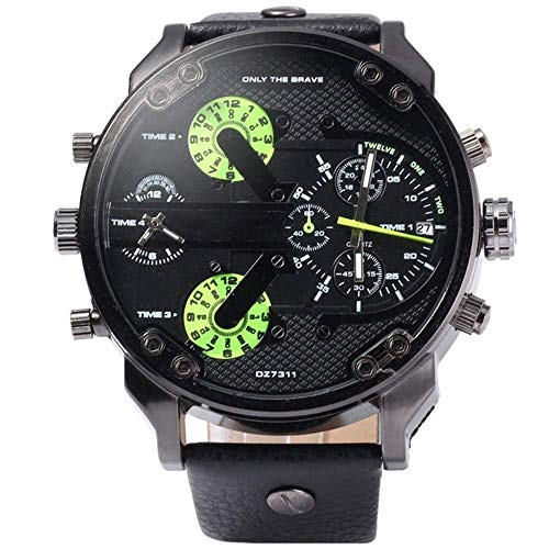 BEWITCHYU  Practical Wristwatches Men 's Dual Movement Watch Calendar Function Belt Quartz Watch Plastic Calibration Small Circle Men Decorative Watch BraceletGreen
